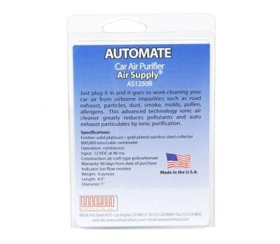 Automate™ Vehicle Ionic Air Purifier Pack Back